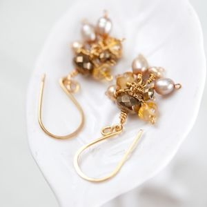 Gold Pearl Cluster Earrings